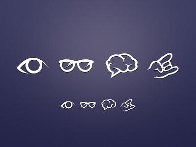 Icon set vector photoshop ui design resource ux interface clean app icon icons set application retina purple brain glasses eye rocknroll minimal hand work profile study skills