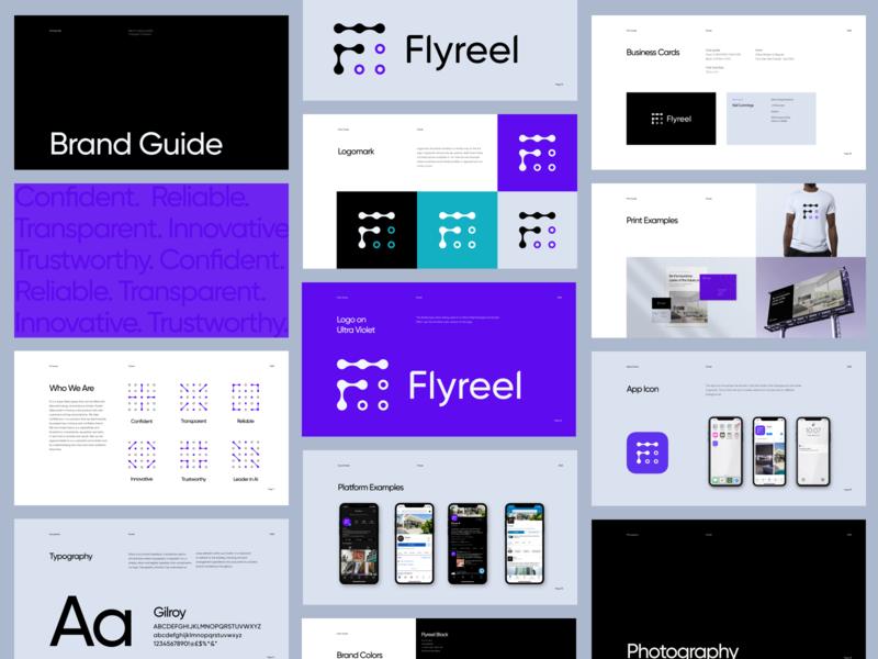 Flyreel Rebrand & Logo Design purple color palette businesscards mockups icon design node logomark logotype wordmark branding brand guidelines brand guide insurance tech ai 3d typography logo brand