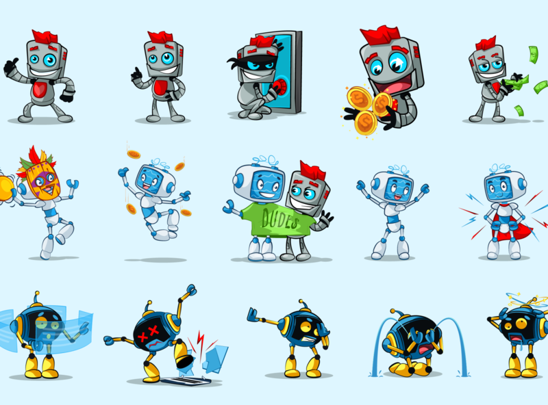 Stickers for telegram bot vectorartist cartoon character mascot illustration vector illustration robot vectorart vector