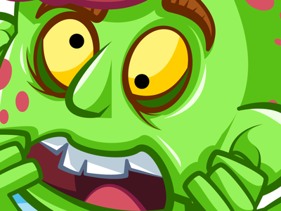 Scared zombie face cartoon illustration zombie scary halloween