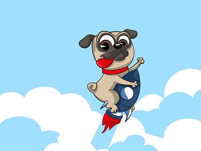 pug on rocket cartoon illustration character vector pug