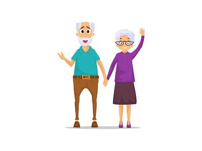Grandma & Grandpa people character mother father old man old woman grandmother grandfather grandpa grandma