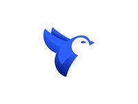 Bird logo minimal blue