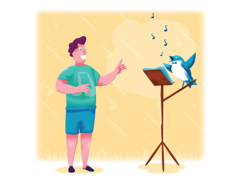 The birds who can't sing illustration blog illustration music conductor conduct man sing song singer bird birds
