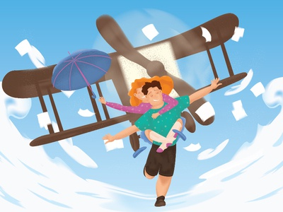 Like a plane illustration characters woman man happy sky paper fly airplane planet