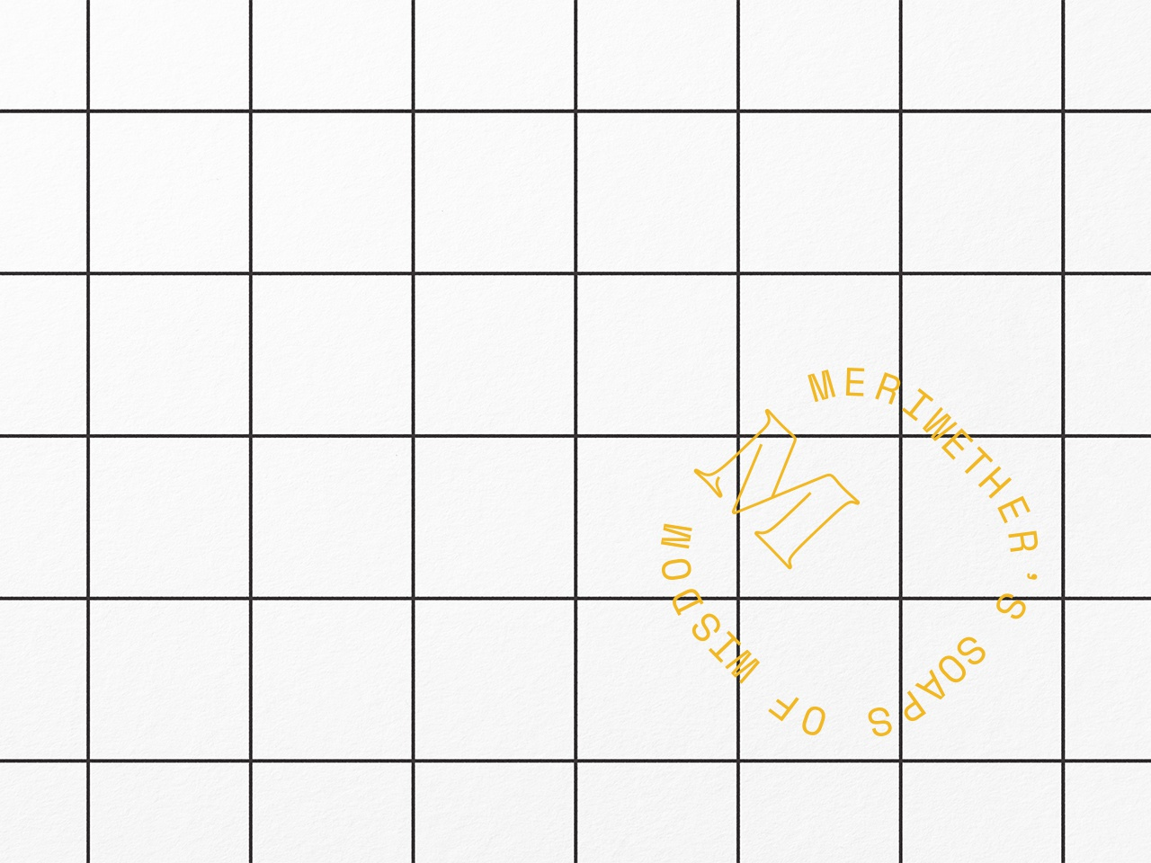 Meriwether's Insignia stencil meriwether logo bubbly wisdom mustard ochre grid design tile bathroom stamp insignia soap element brand