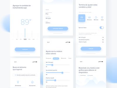 More of a Medical Diabetes app design app application 2019 design ux design native app layout ux ui health care diabetic health app native health clean minimal app