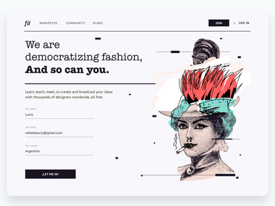 Daily UI #001 · Sign Up typography art direction form form field ux illustration dailyillustration desktop sign up page sign up fashion app fashion landing page ui ux design ui template uidesign daily 100 challenge dailychallenge dailyui001 dailyui