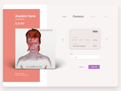 Daily UI #002 · Checkout palette art direction cd cover credit card form ui design system interface design david bowie music ecomerce credit card checkout interface ui  ux design uidesign daily challange dailychallenge dailyuichallange daily 100 dailyui