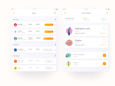 Order compiling ui kit iconset design system card design cards delivery app rounded corner topbar menu bar button gradient checkbox table mobile app order ecommerce list dailychallenge daily ui ui