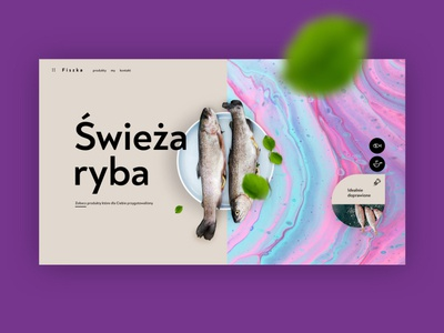 Fiszka - fresh fish products minimal ux site flat website webdesign web ui poland design