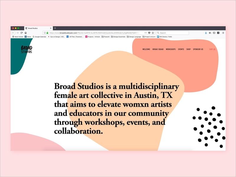 Broad Studios Website art collective austin texas broad studios website design web design identity design vector ui brand identity branding design atx brand and identity color brand