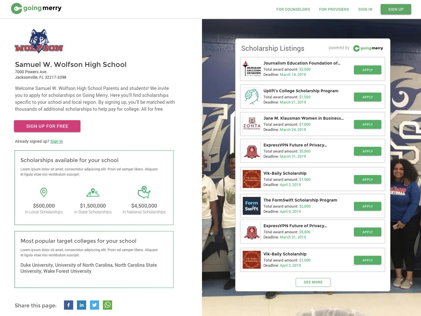 High School Scholarships UI/UX by Chris Karnes on Dribbble