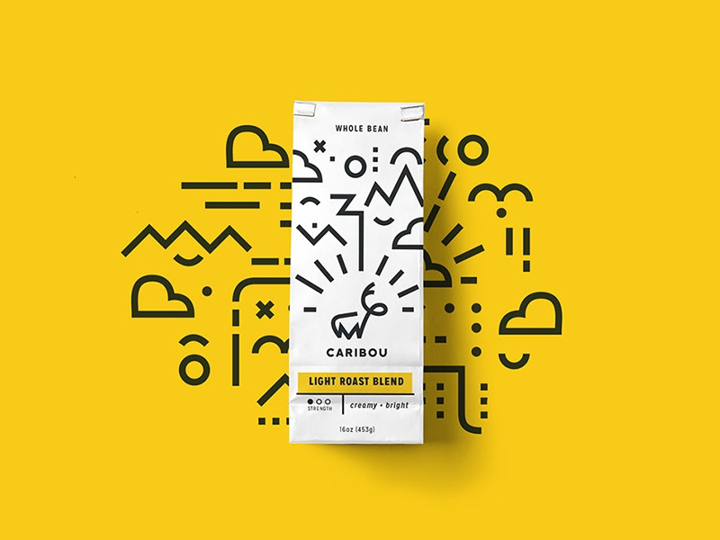 Caribou Coffee clean geometric brand identity packaging design coffee graphic design branding design packaging vector icon branding design logo illustration