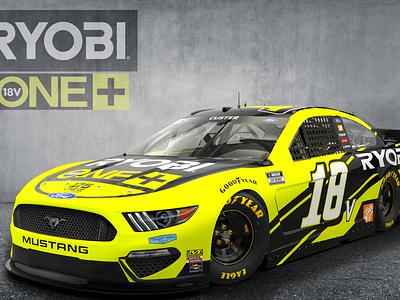 Ryobi NASCAR Ford Mustang 3D Render racing car design ford 3drender rpm3dinc nascar nascar3d rpm3d