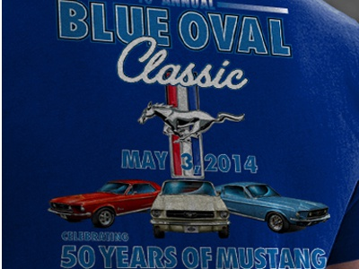 T-Shirt Design for Blue Oval Classic Car Show shiftlife coolridepix rpm3dinc rpm3d blue oval classic mustang foac muscle car