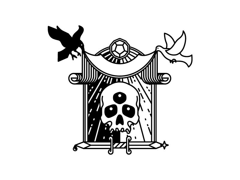 Untitled  third eye dodecahedron negative positive metaphysics raven dove ribbon cosmic rays illustration icon pluralism