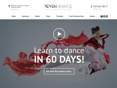 The7 Dance School template fitness dance web-design web the7 theme wp wordpress
