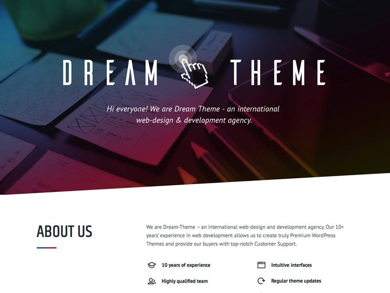 Dream-Theme's official website web-design agency web-design studio premium themes wordpress themeforest the7 dream-theme