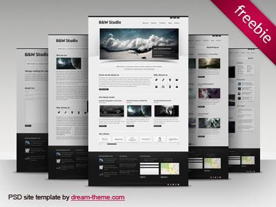 B&W Studio - Free PSD Site Template freebie free site template free psd template psd web template