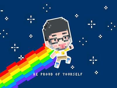 Be proud of yourself. nyan rainbow pride pixel