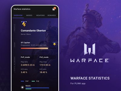 Game Statistics / Warface statistics gaming game concept app ui android