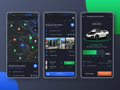 Charging app electricity location map bmw charge car cars mobile app mobile concept
