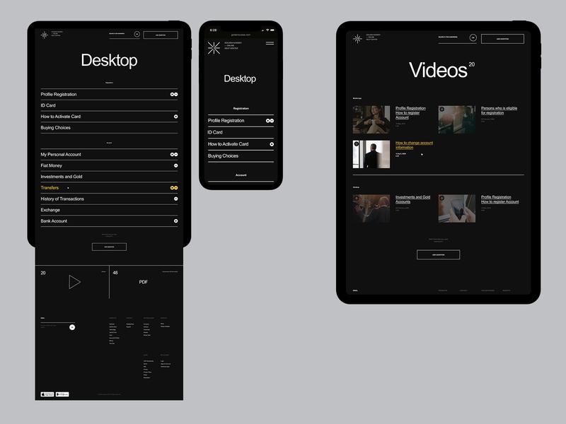 Golden Suisse Help Center branding mobile desktop typography flat minimal website web ux ui