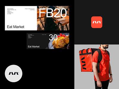 Eat Market mobile identity app flat logo vector branding design typography minimal