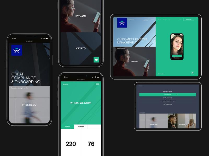 Sumsub branding mobile desktop typography website minimal flat web ux ui