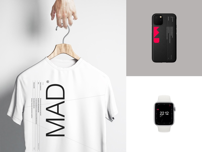 MAD® watch phonecase tshirt identitydesign identity flat logo branding design minimal