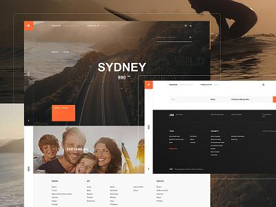 Solncetur web website desktop fullscreen minimal clear ui ux flat grid