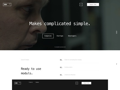 ION typo desktop typography design flat website web ux ui minimal