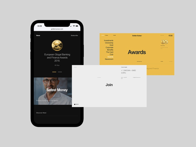 Golden Suisse design typo website mobile flat typography web ux ui minimal