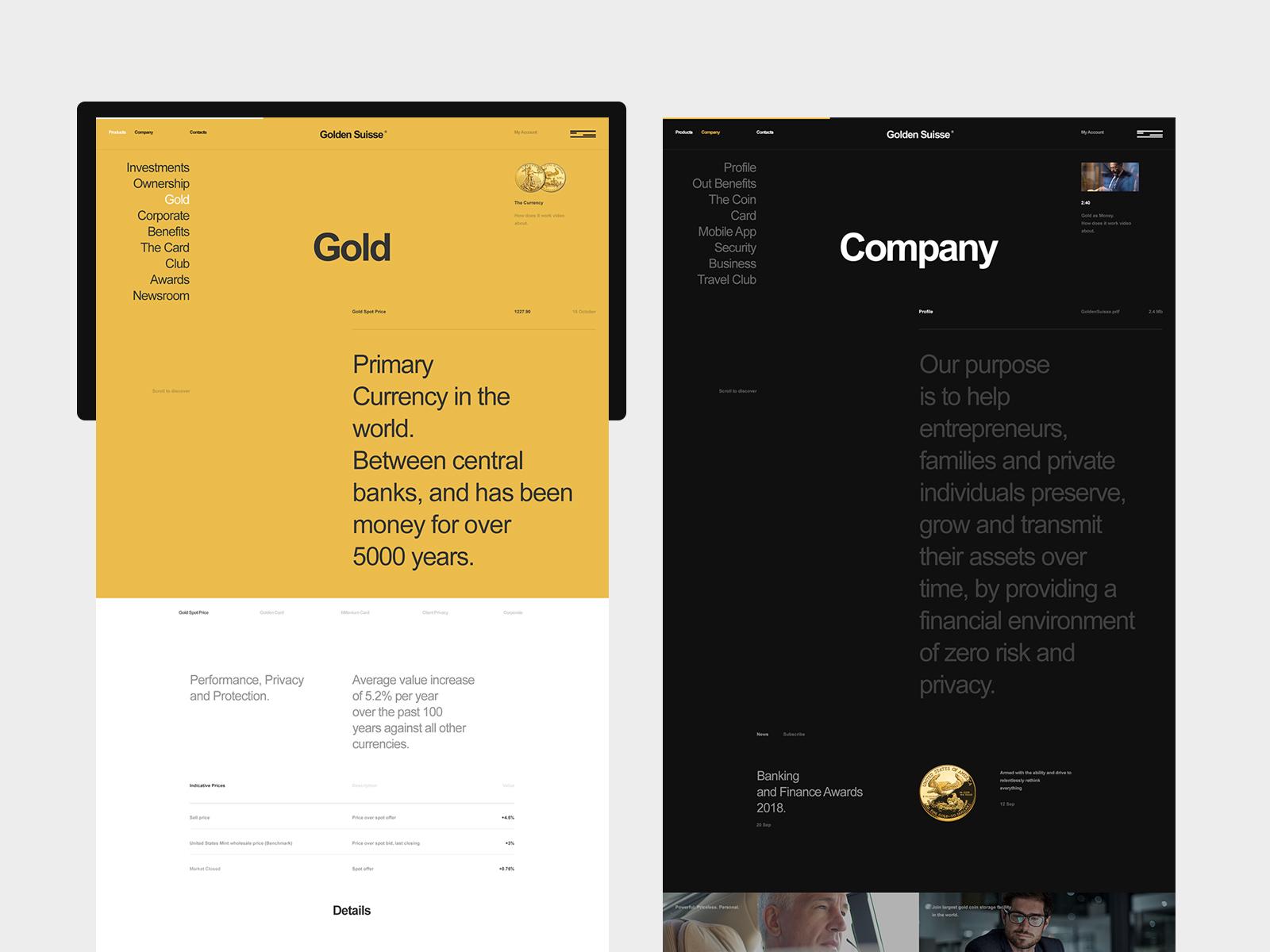 Golden Suisse flat typo design typography desktop website minimal web ux ui