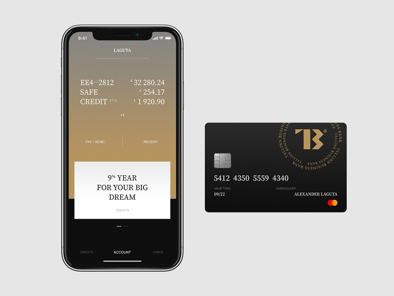 TBB bank card app mobile design typography flat ux ui minimal