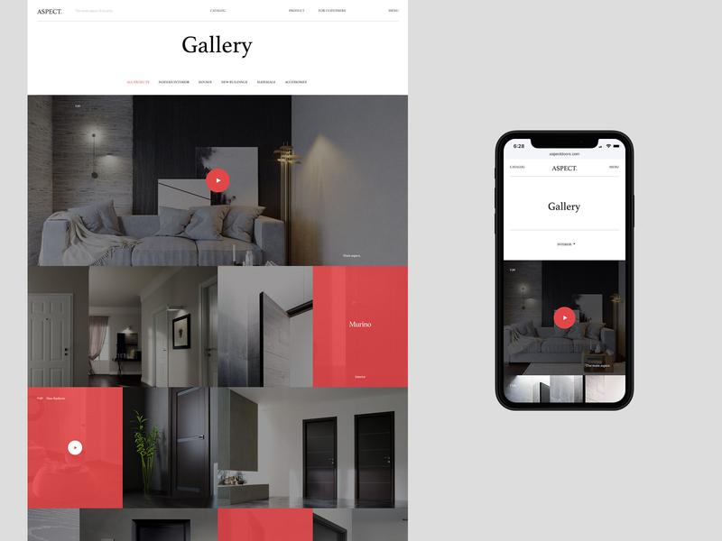 Aspect design mobile flat typography desktop website web ux ui minimal