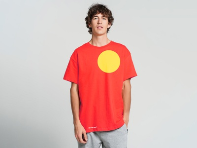 MotionLang circle red apparel identity tshirt vector branding flat logo minimal