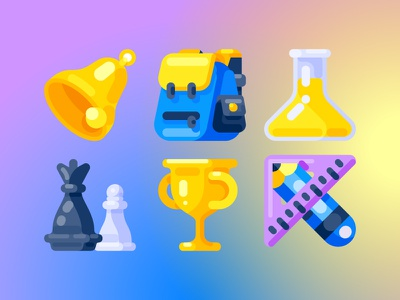 Education icon vector flat icon education bell bag chemical chess trophy pencil ruler