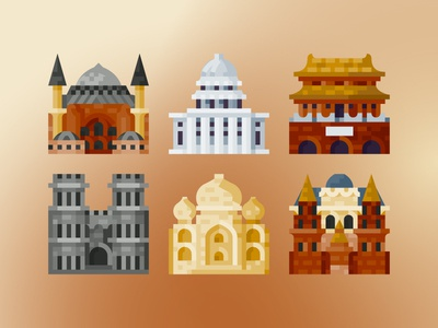 World Landmarks buildings architectures history world landmarks ui vector flat icon icon