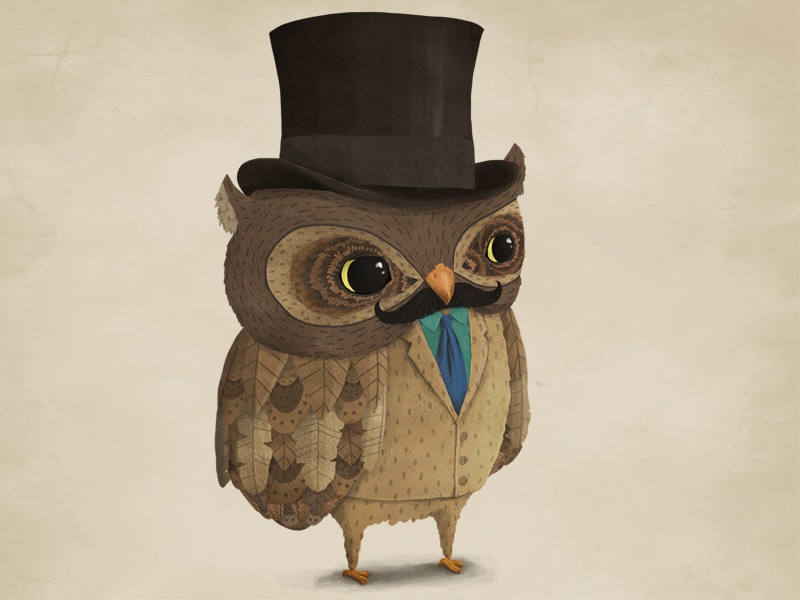 Owl mascot owl mascot character character design animal bird top hat illustration mustache suit tie