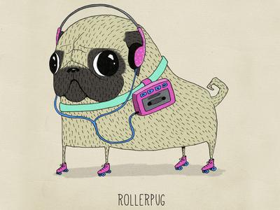 rollerpug illustration character character design pug dog animal rollerskates eighties funny