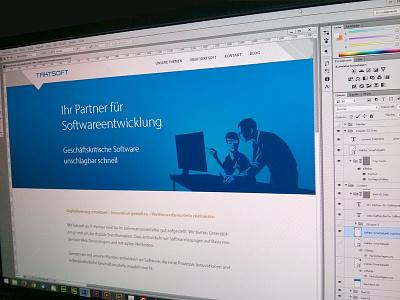 Taktsoft website web design illustration software blue grey portfolio
