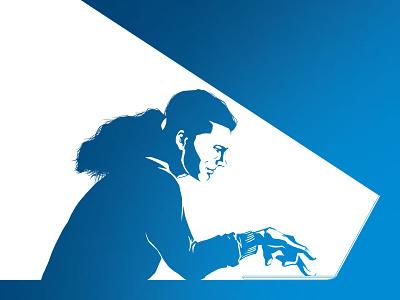 Man working on laptop digital photoshop wacom software development ruby on rails e-commerce solr content management bonn