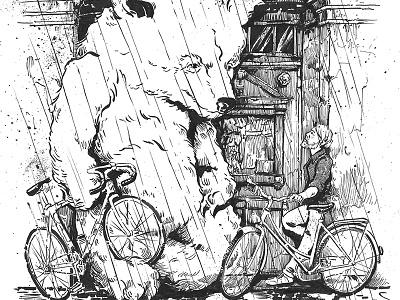 Berlin Guardian Angel illustration ink paper rain bike fixie single speed kiez