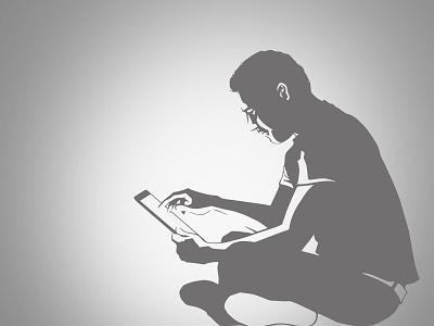 man with tablet tablet ipad man art noir sitting illustration wacom
