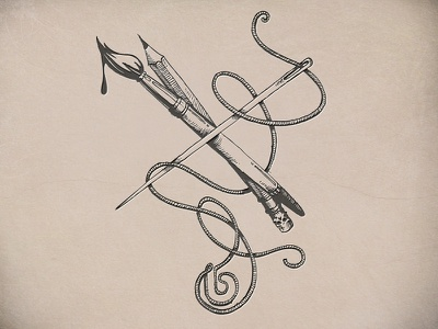 Fine Line illustration brush pencil neelde retro fashion screen print