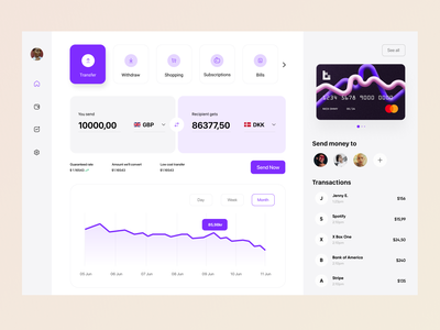 Money Transfer for Banking / Dashboard visual identity ui development platform web overview interface clean product design dashboard
