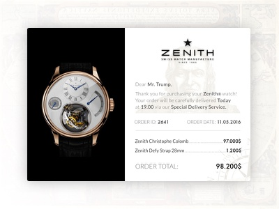 Email Receipt ux ui envelope dailyui challenge 17 trump receipt columbus watch zenith e-mail