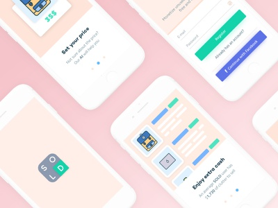 SOLD App Onboarding onboarding clean card steps concept commerce iphone ios sell app